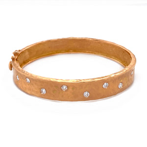 Rose Gold & Diamond Wide Hammered Bangle