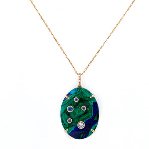 One of a Kind Azurite Malachite Pendant