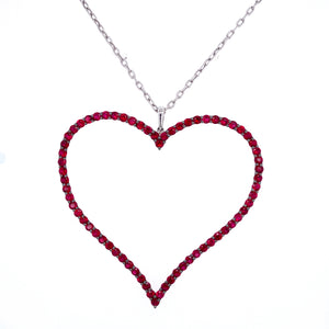 Large Ruby Heart Necklace