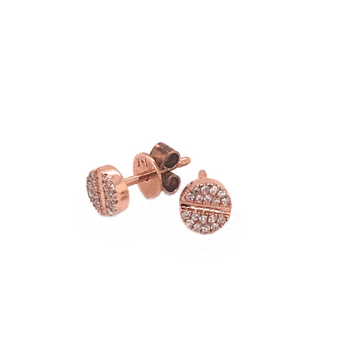 Screw Head Diamond Stud Earrings