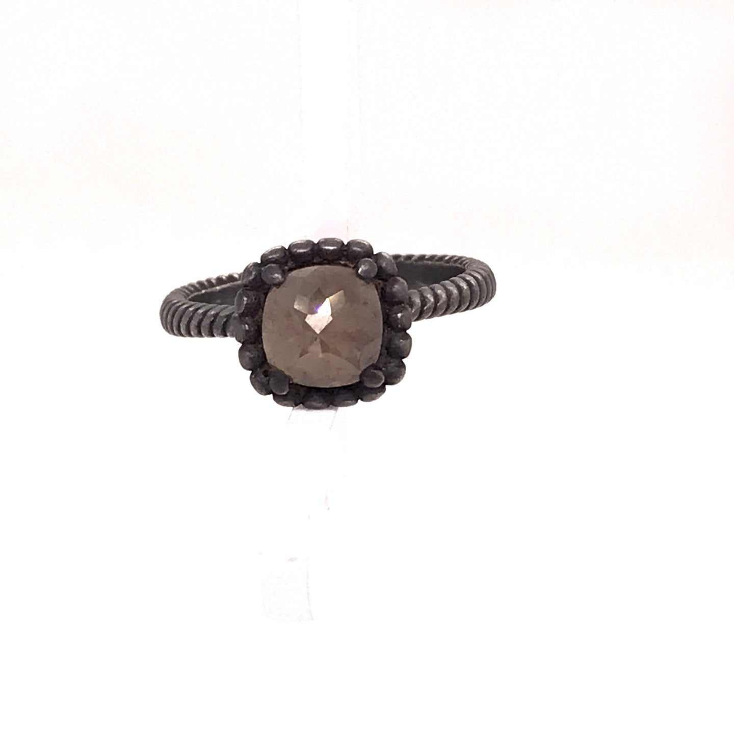 Oxidized Silver Brown Cushion Cut Diamond Ring With Beaded Bezel