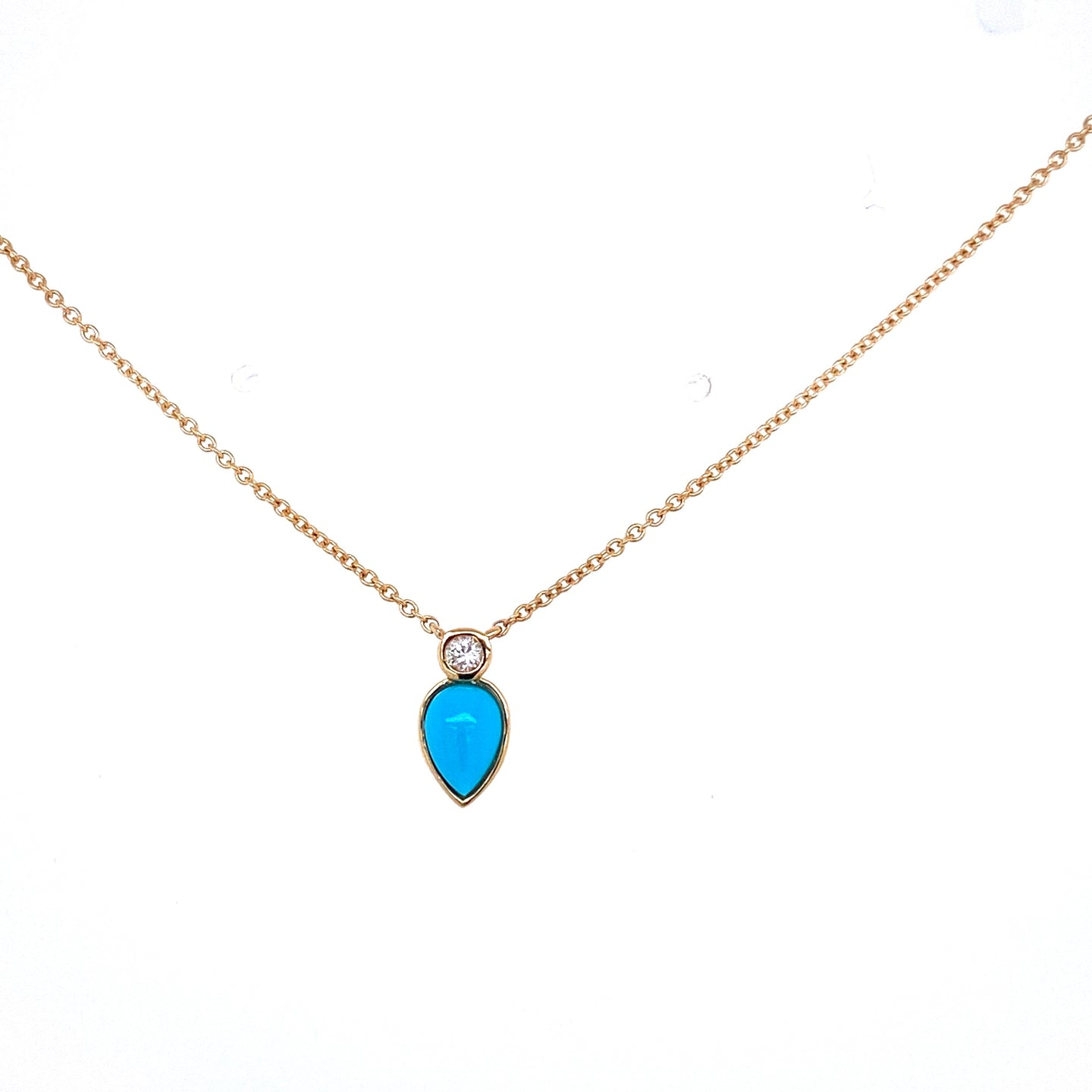 Pear Shaped Turquoise & Diamond Necklace