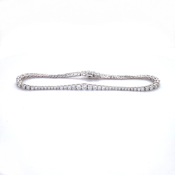 White Gold Tapered Section Diamond Bracelet