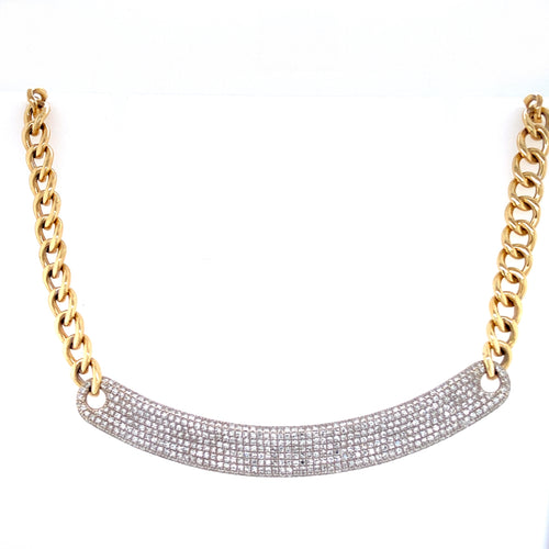 Two Tone Gold & Diamond Curb Chain