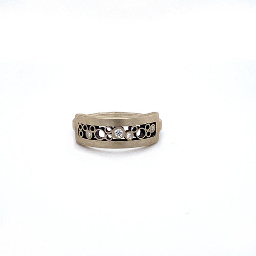 Sterling Silver Tall Rectangular Curved Diamond Ring