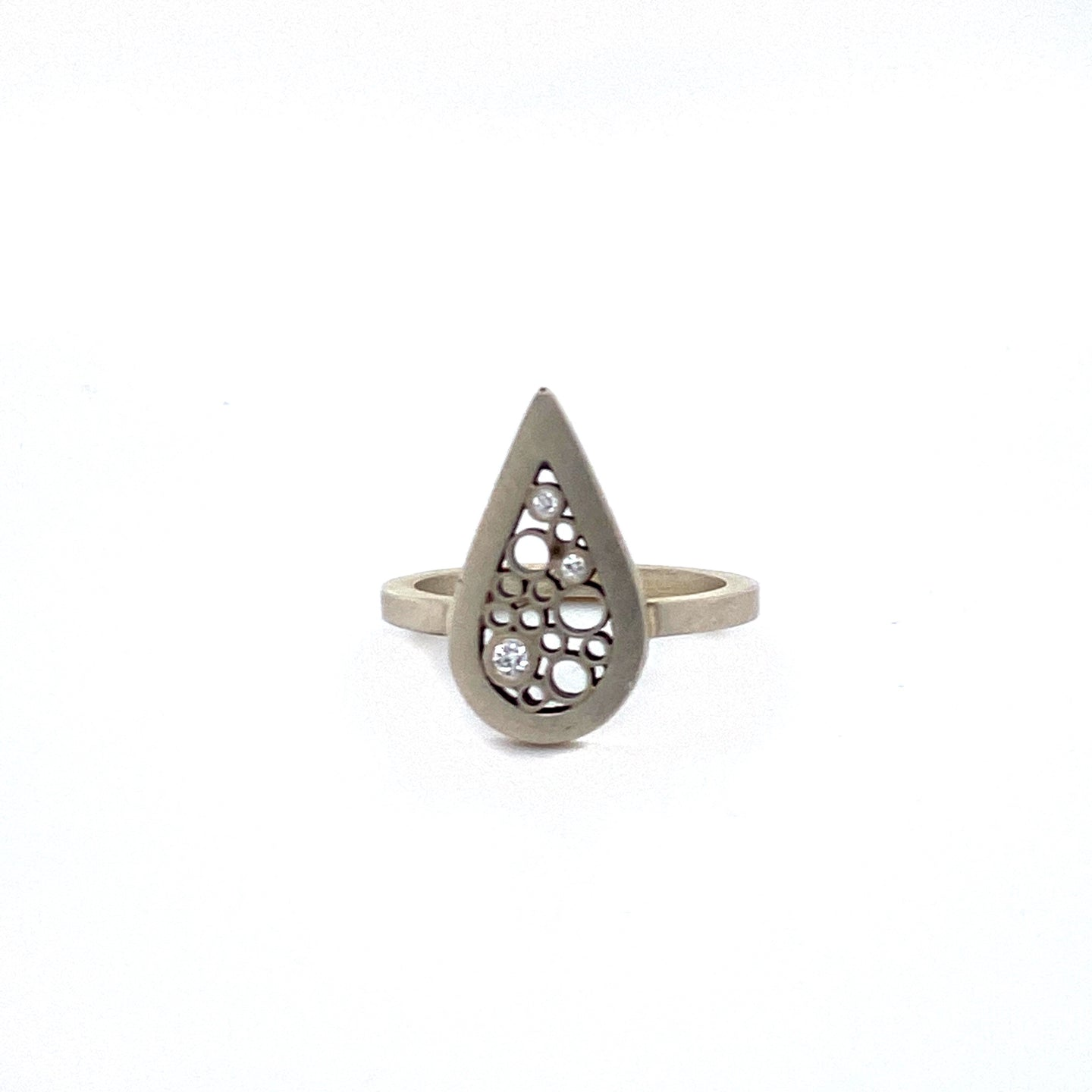 Silver Pear Shaped Diamond Ring - Belle Brooke