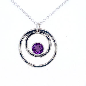 Double Circle Amethyst Necklace