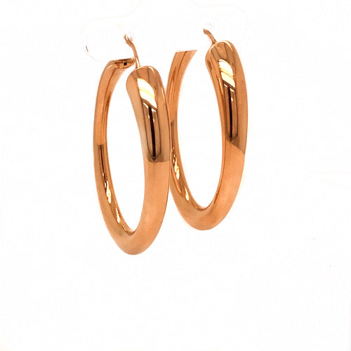 Yellow Gold Tapered Oval Hoop