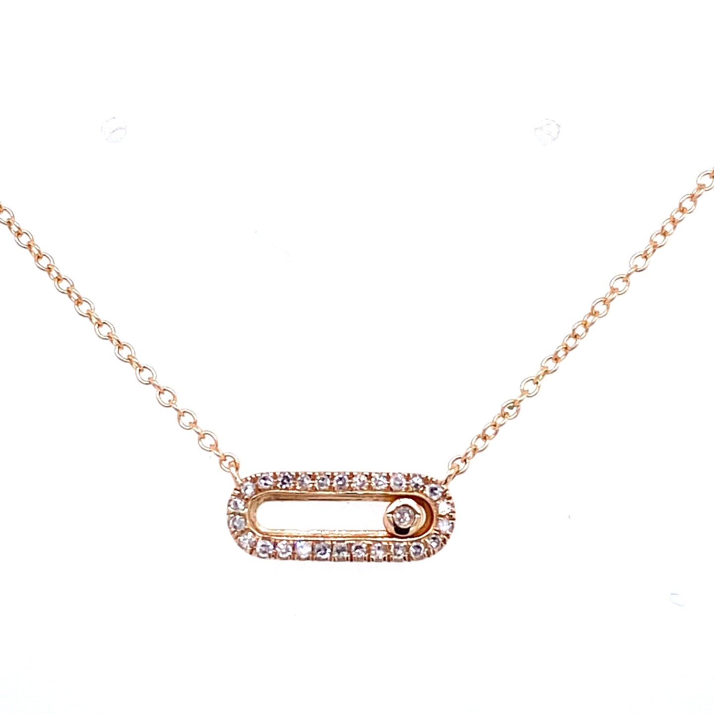 Diamond Oval Link Sliding Diamond Necklace