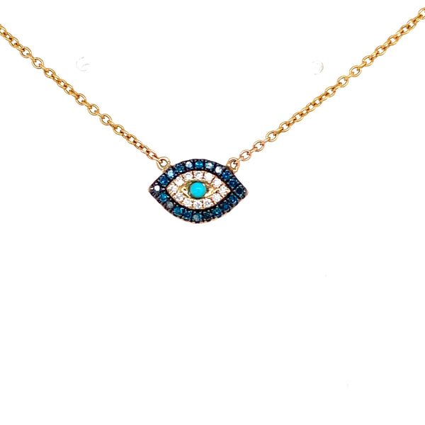 Sapphire & Turquoise Evil Eye Necklace