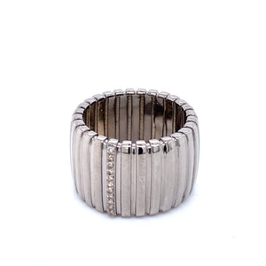 Wide Fluted Band with Diamonds