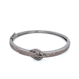 Slim Pave Diamond Buckle Bangle