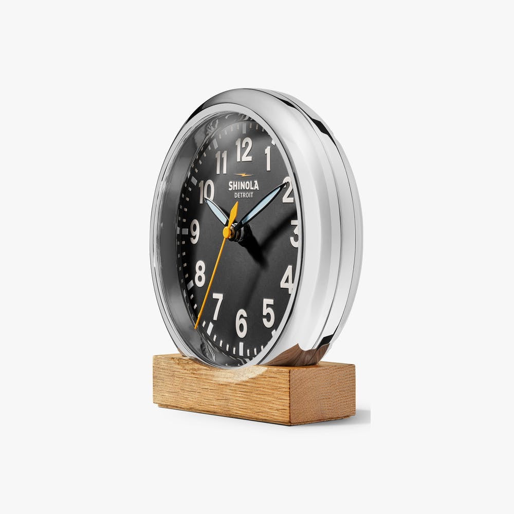 Shinola Silver Runwell Desk Clock