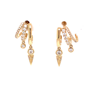 Diamond 3 Row Claw Earrings