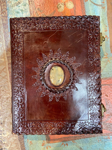 7x9 Leather Journal with Lemon Rutilated Quartz Center