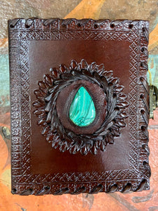4x5 Leather Journal with Malachite Center