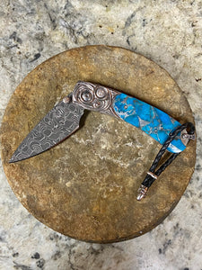 Kestrel Blue Wave Handle Knife with Damascus Blade