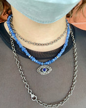 Rough Cut Sapphire Bead Necklace with Diamond Evil Eye