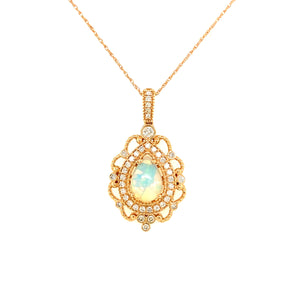Opal & Diamond Filigree Necklace