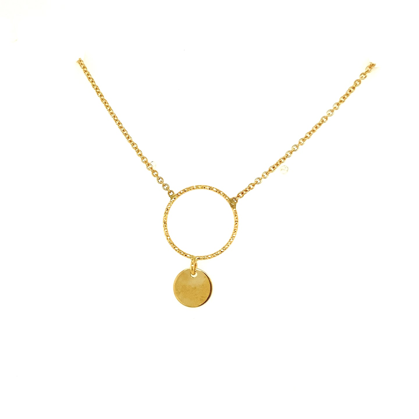 Yellow Gold Open Circle Necklace
