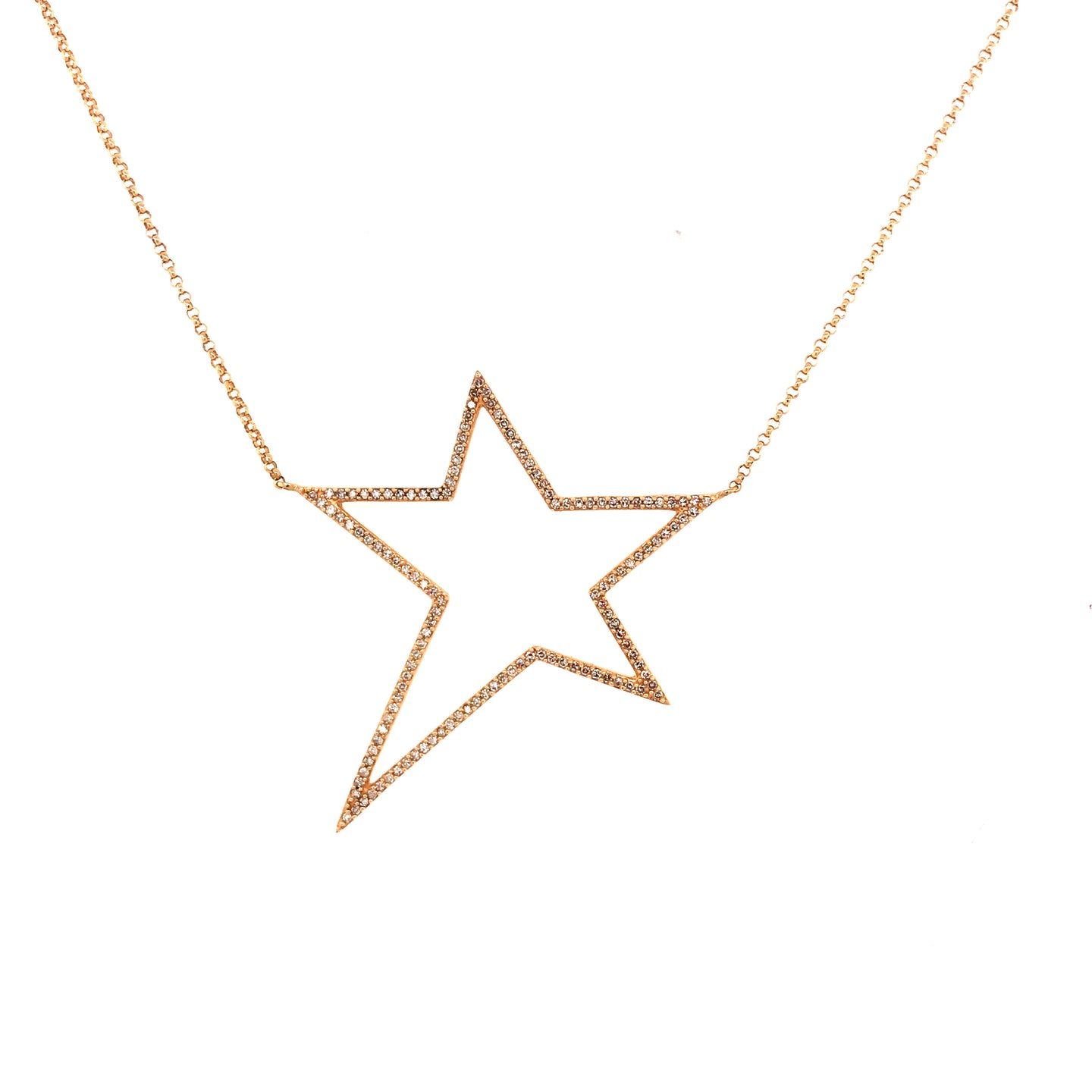 Large Diamond Open Star Necklace