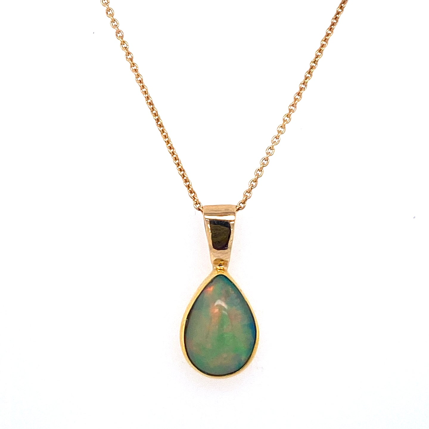 Pear Shape Ethiopian Opal Necklace