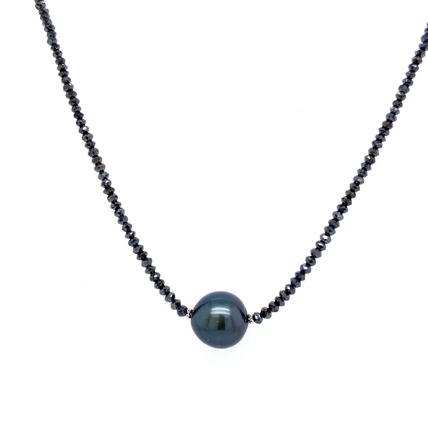 Black Diamond Necklace with Tahitian Pearl Center
