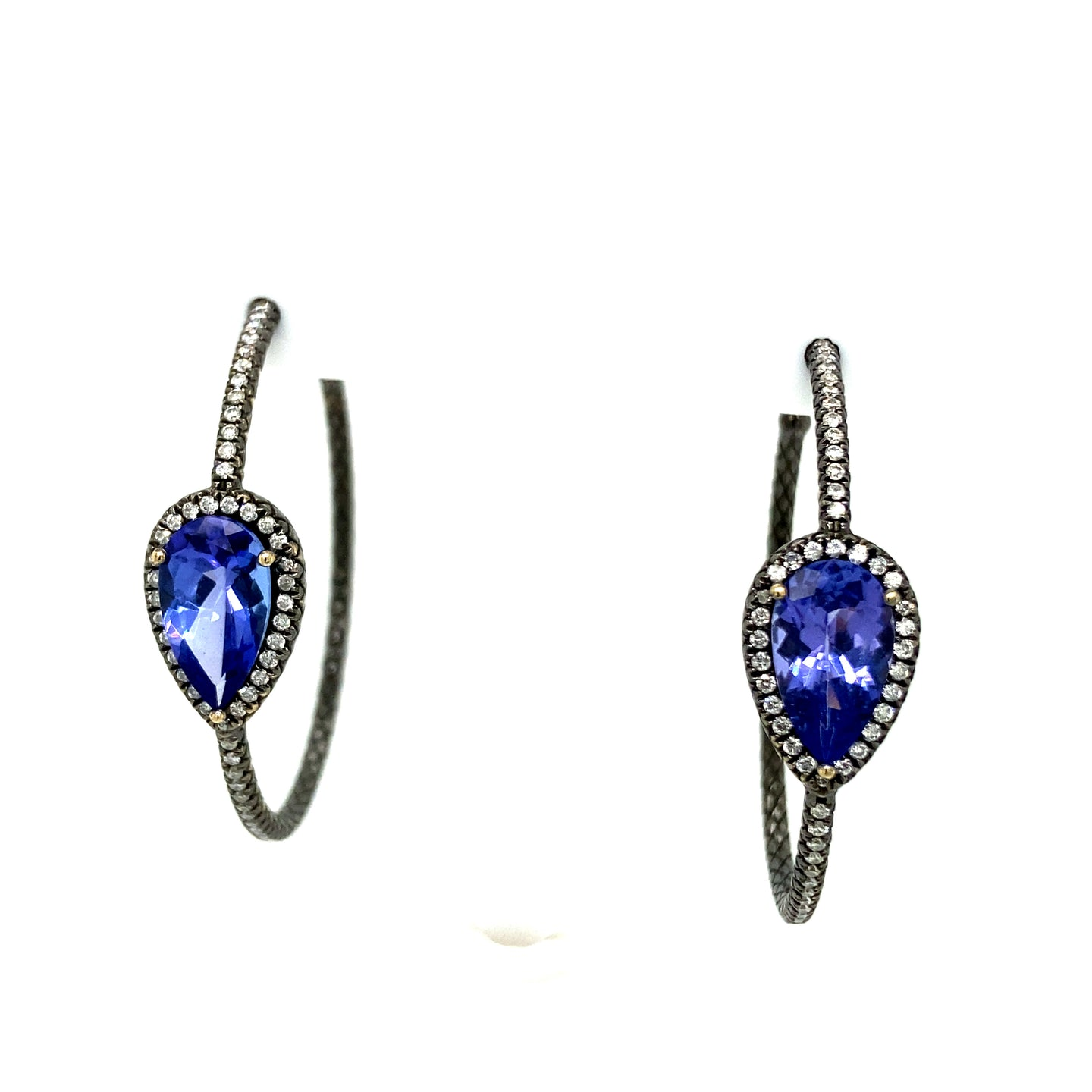 Tanzanite & Diamond Hoops