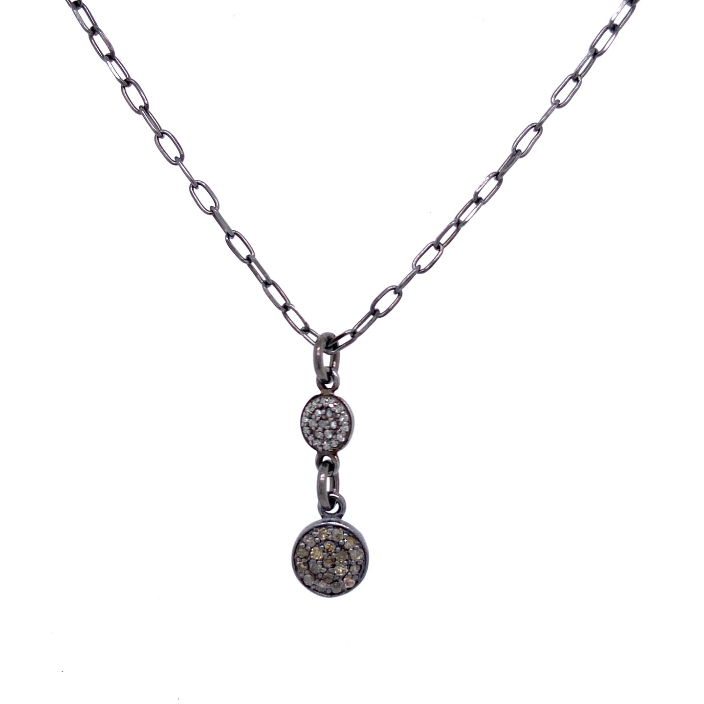 Double Pave Disc Necklace