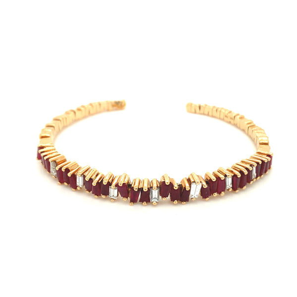 Jagged Diamond & Ruby Baguette Bangle