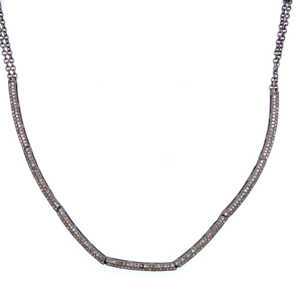 Diamond Pave Curved Link Necklace