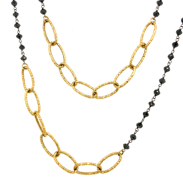 Black Diamond & Gold Chain Necklace