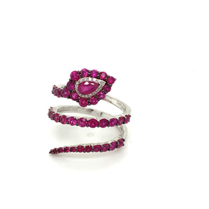 Ruby & Diamond Snake Ring