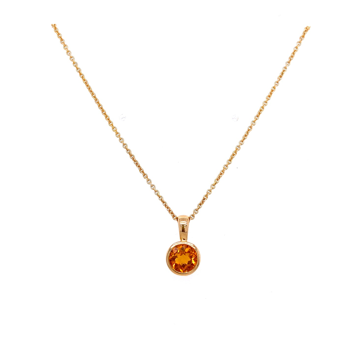 Bezel Set Citrine Necklace