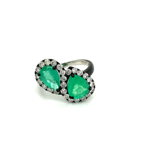 Double Pear Shape Emerald Ring