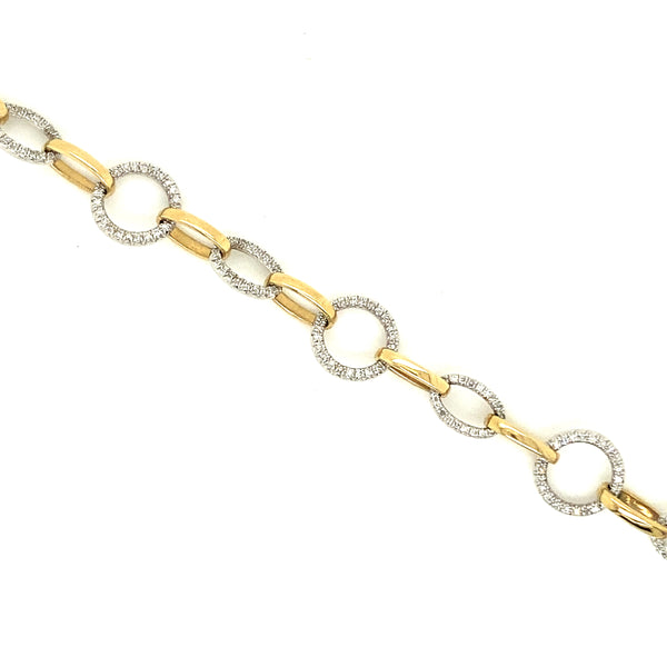 Two-Tone Alternating Link Diamond Bracelet