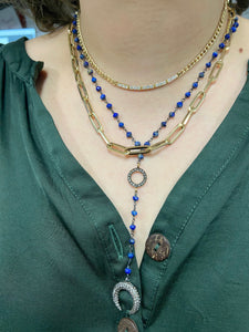 Lapis Rosary with Pave Horn Charm