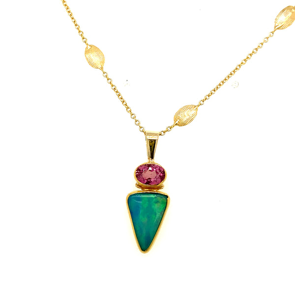 Ethiopian Opal & Pink Tourmaline Necklace