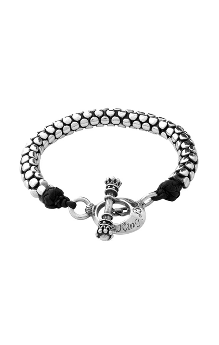 King Baby Snake Link Leather Bracelet