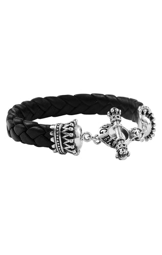 King Baby Black Leather Bracelet with Crown End Toggle