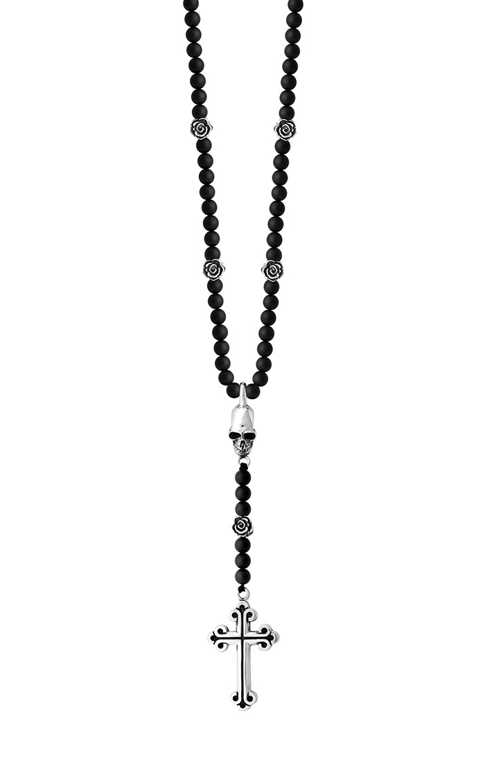 King Baby Skull, Cross & Rose Rosary Necklace