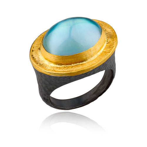 Lika Behar Topaz & Mother of Pearl Cocktail Ring