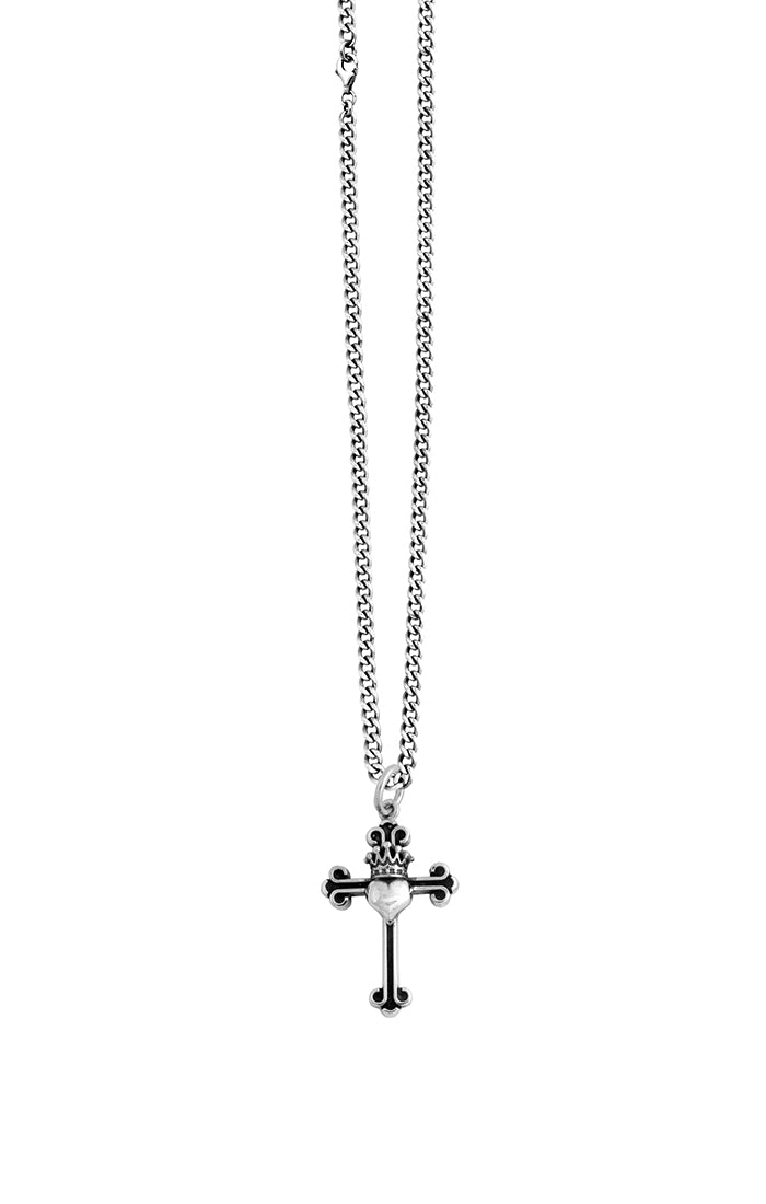 King Baby Cross with Heart Necklace