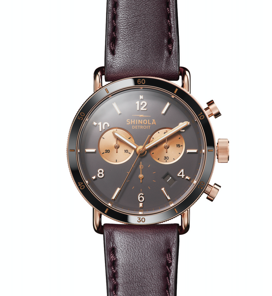 Shinola Canfield Sport 40mm(Brown+Aubergine Strap)