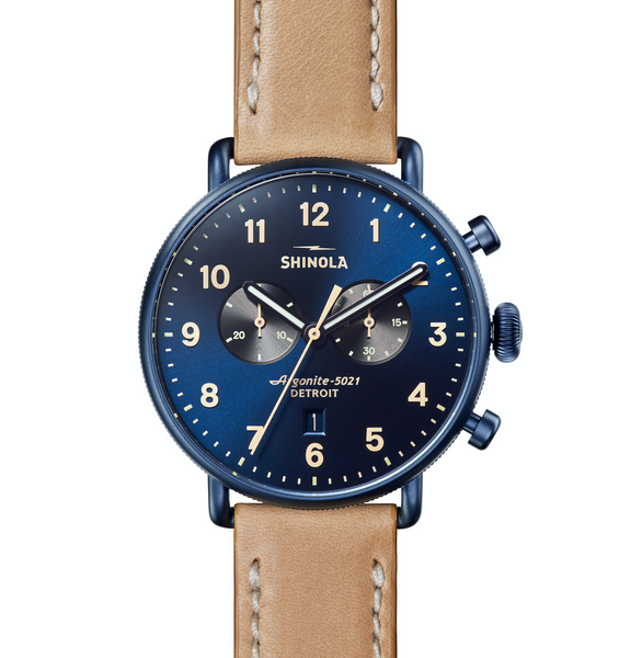 Shinola Canfield Chronograph (Alabaster+Dark Brown Strap)