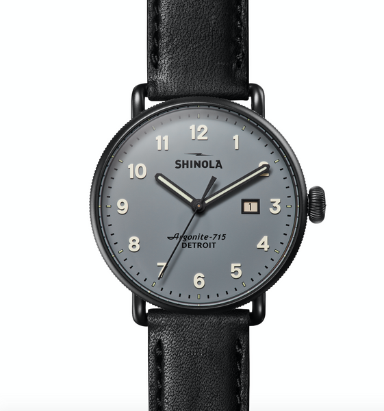 Shinola Canfield 3HD 43mm (Gray+Black Strap)