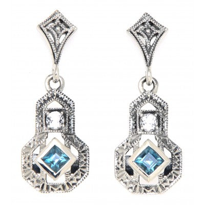 Art Deco Inspired London Blue Topaz Earrings