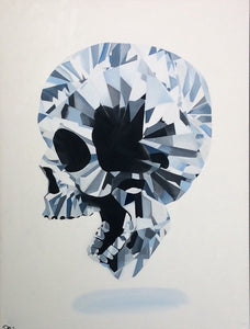 """Diamond Skull"" Skull Original Oil and Canvas Painting"
