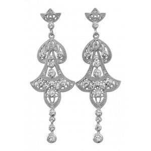 Art Deco Chandelier Earrings with Pearls