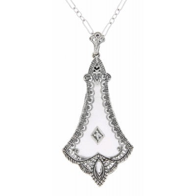 Art Deco Frosted Crystal Chandelier Necklace